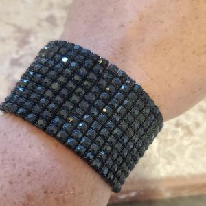 10 row black rhinestone stretch bracelet new